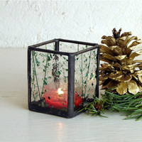 Stained Glass Candle Holder - Tea Candle - Green and Red Holiday Decoration