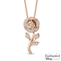 Enchanted Disney Belle 1/10 CT. T.W. Diamond Rose Pendant in 10K Rose Gold - 19"