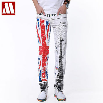 Top Punk New Yuppie Jeans for Male leisure men's designer retro print jeans Men White Trousers man