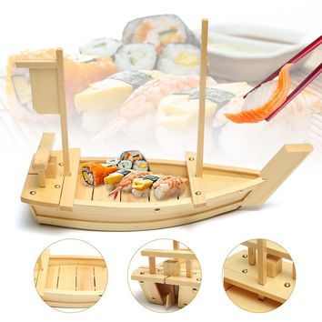 50x19cm Large Wooden Sushi Boat Serving Plate Tray Sashimi Serving Tray Simple Ship Tableware Bar Suppliers for Japanese Cuisine