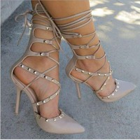 One-nice™ Fashion lace up hollow high-heels metal shoes women sandals