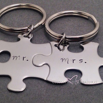 Puzzle Piece Keychains, Mr Mrs Keychains, Stamped Keychains, Personalized Keychains, Wedding Gift, Bride Groom Gift, Free US Shipping