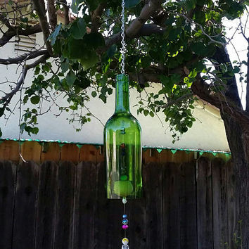 Whimsical Upcycled Wine Bottle Wind Chime/Repurposed Bottle Garden Art/Recycled Winery Wine Bottle/Sun Catcher Wine Art/Aspire to Inspire