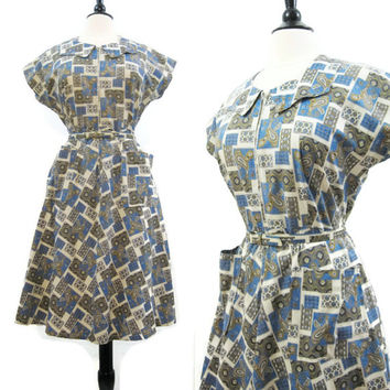 40s 50s Dress Vintage Cotton Zip Front Bandana Paisley Print House Day Dress M L