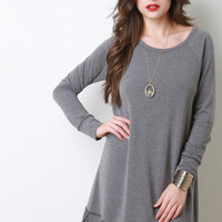 Soft Knit Raglan Sleeve Stitched Hem Dress