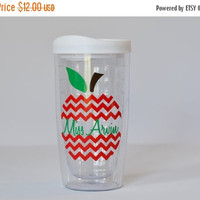 Personalized Teacher Gift- Chevron Apple Tumbler - Teacher Appreciation Gift - Personalized for Free