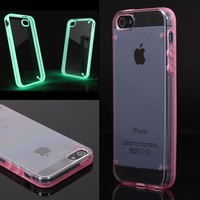 Luminous Style Glowing Hard Bumper Skin Back Case Cover For iPhone 5 5G 5th Pink (clear)