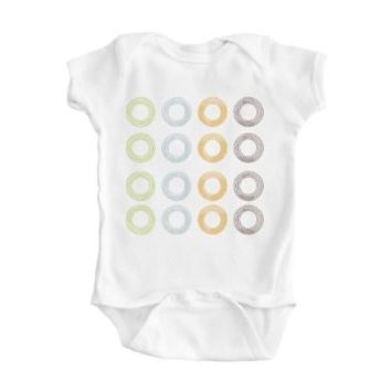 Boy's White Multicolor Ring Design Organic One Piece Bodysuit