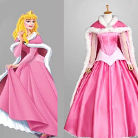 Aurora Dress, Aurora Costume, Aurora Cosplay Pink Dress Costume with Cloak
