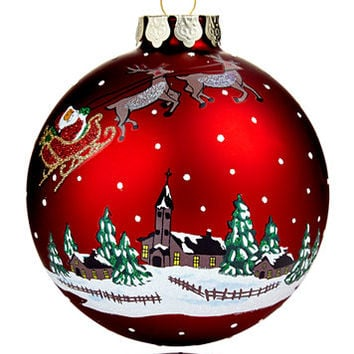 Holiday Lane 2017 Red Glass Winter Village Ball Ornament, Created for Macy's | macys.com