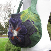Felted Tote in Green and Purple with 3D Flower. Felt Novelty Purse. Unique Large Hobo Bag. Felted Wool Shoulder Bag. Wearable Art  Boho.