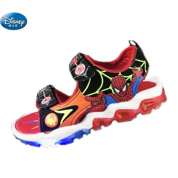 Disney Spiderman boys sandals with LED light 2108  kids shoes Europe size 20-31