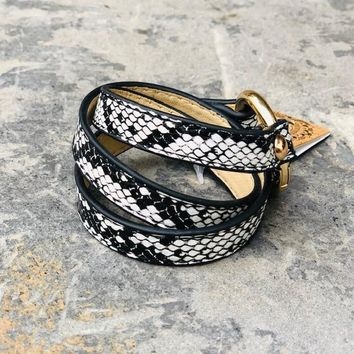 White/Grey Snake Skin Wrap Bracelet with Gold Accent