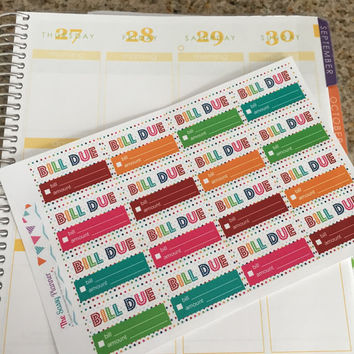FREE SHIPPING D2 Bill Tracker Stickers for Erin Condren Life Planner Weekly Spread, Set of 32 Rainbow Polka Dot