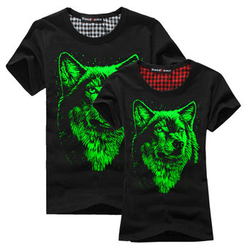 Summer trend of the men's clothing luminous short-sleeve T-shirt luminous 100% cotton o-neck personalized neon light clothes