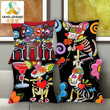 1 PCS 43*43cm Cute Sugar Skull Mouse Cushions Linen Cushion Cover Lovely Animals Throw Pillow For Living Room Bed Room