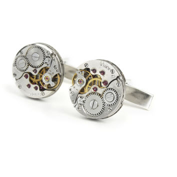 Solid Sterling Silver Antique Watch Movement Round Cuff Links
