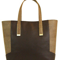 Ivanka Trump Amanda Faux Leather Colorblock Shopper Tote Bag
