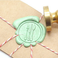 Bon Appetit Utensil Gold Plated Wax Seal Stamp x 1