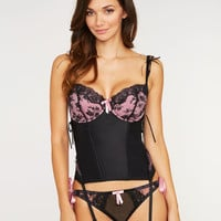 figleaves boudoir, Obsession B-G Basque with pretty florals and eyelash lace, decorated with a bow at the centre at figleaves.com