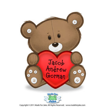 Personalized Teddy Bear & Heart print - nursery or kids room wall art - 8X10 Custom colors