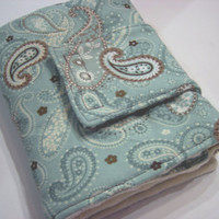 Pale Green Paisley Travel Diaper Changing Pad