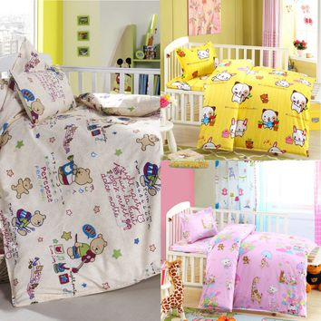 3pcs Baby Nursery Crib Bedding Set Girl Boy Sheet Quilt Mattress Pillow Cover