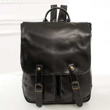 Stylish PU Leather Casual Backpack [6582344135]