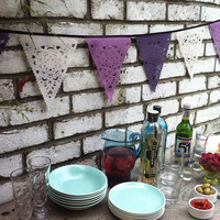 purple, lilac and cream party bunting, purple wedding garland