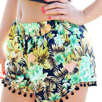 Forest Print Shorts With Pom Pom Trim