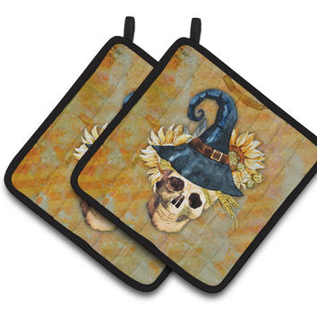Day of the Dead Witch Skull  Pair of Pot Holders BB5126PTHD