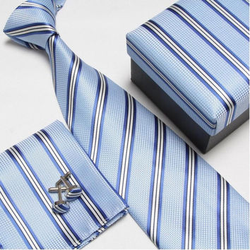 Light Blue and Blue Stripped Necktie Set with Matching Cufflinks, Pocketsquare and Gift Box