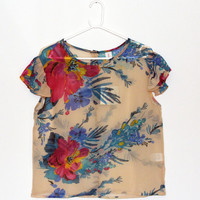 Flotal printed shirt, Sheer chiffon blouse, Summer top, Buttoned back shirt