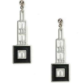 Elmsie Detail Prairie Style Black Enamel Earrings