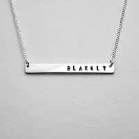 Personalized Hand Stamped Custom Initial Letter Necklace - Sterling Silver ID Bar Necklace - Monogram Necklace