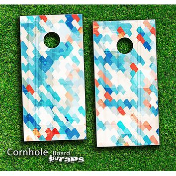 Abstract Turquoise Tiled Skin-set for a pair of Cornhole Boards