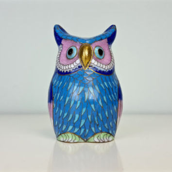 Vintage Owl Figurine Brass Enamel Cloisonne, Vintage Cobalt Blue Owl Figurine, Owl Knicknacks, Collectible Owl, Boho Chic Shelf Decor