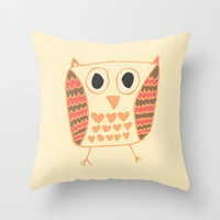 Fall time Owl Throw Pillow by Allyson Johnson