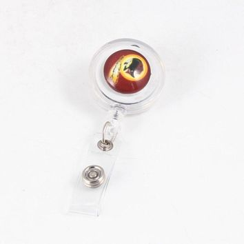 USA Football Team Washington Redskins  Keychain Casual Badge Reel Recoil Key Ring ID Card Holder Turnable Clips 7*3.2cm
