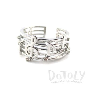 Musical Notes on Score Shaped Music Themed Ring in Silver | DOTOLY