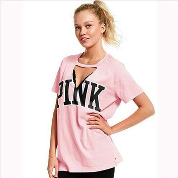 PINK Victoria's Secret Women Fashion V-Neck Tunic Shirt Top Blouse
