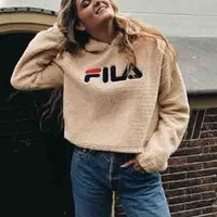 FILA Fashion Casual Long Sleeve To Keep Warm Lambs wool Hoodie Pullover Sweater Brown G
