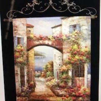 Tapestry with iron rod hanging