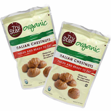Free Shipping | 12-Pack Organic Italian Premium Grade Roasted Chestnuts by TruStar (3.5 oz. x 12)