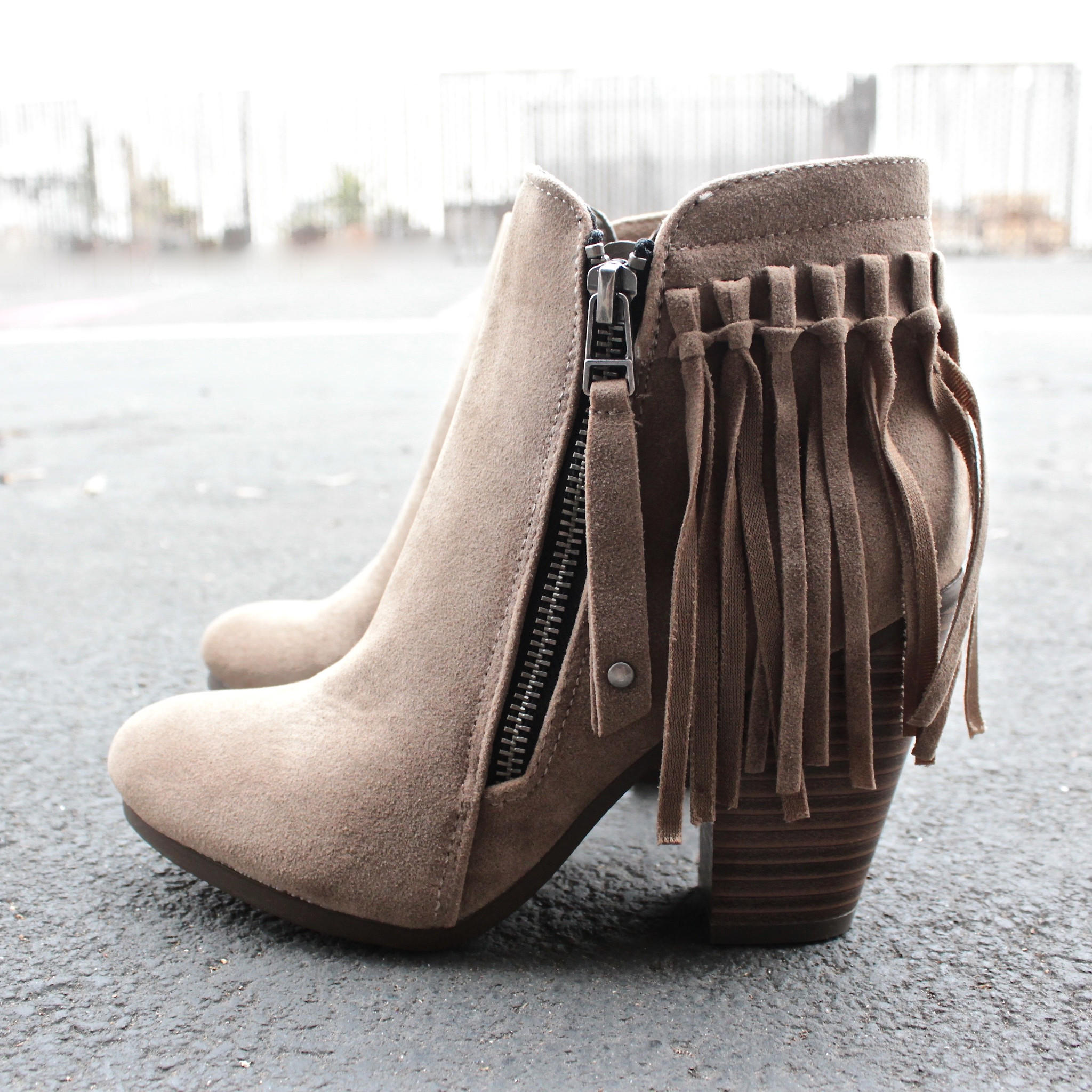boho fringe ankle booties - beige from shophearts