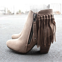 boho fringe ankle booties