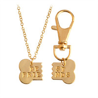 Dog Lovers will want this, 2pcs/set Dog Bone Charm Necklace & Keychain.