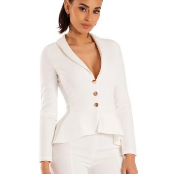 Pascale White Deep V Gold Button Detail Ruffled Stretch Crepe Blazer