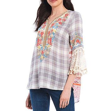 Plaid Floral Lace Embroidery 3/4 Bell Sleeve Cotton Blend Tunic