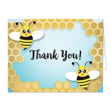 Cute Honeycomb Bee Thank You Cards